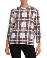 grey Check Print Textured Top