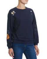 navy Lurex Flower Sweatshirt