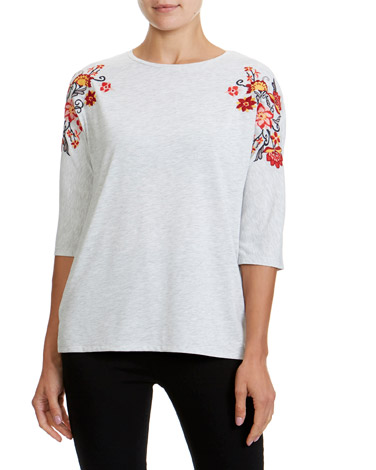 f463c7e985d grey Embroidery Shoulder Three-Quarter Sleeve Top