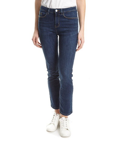 denim Mid Rise Essential Straight Fit Jeans
