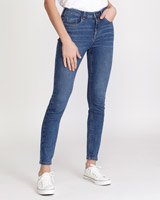 mid-wash Mid Rise Essential Skinny Fit Jeans