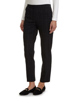 black Slim Fit Elastic Back Print Ponte Trousers