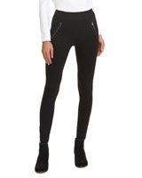 black Elastic Zip Treggings