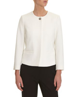 ivory Popper Front Textured Jacket