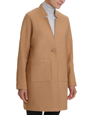 camel Knitted Melton Button Front Coat