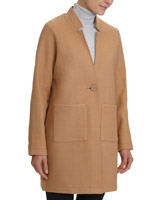 camelKnitted Melton Button Front Coat