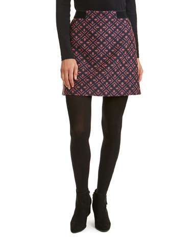 pinkJacquard Elastic Waist Skirt