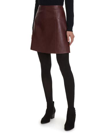 78b33cf4bf burgundy Leather Look Mini Skirt