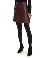 burgundy Leather Look Mini Skirt
