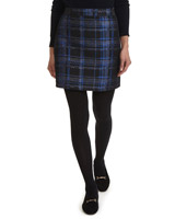 black-blue Check Jacquard Mini Skirt