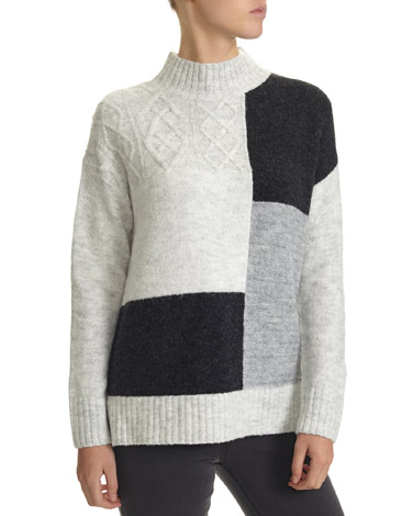 grey Cable Patchwork Jumper