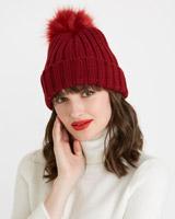 burgundySavida Ribbed Pom Hat