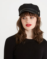 black Savida PU Peak Hat