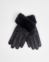 black Gallery Faux Fur Trim Gloves