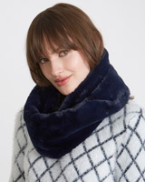 navy Savida Faux Fur Snood