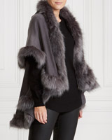 grey Gallery Faux Fur Trim Wrap