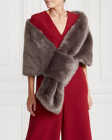 grey Gallery Large Faux Fur Wrap