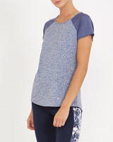 blue Mesh Sleeve T-Shirt