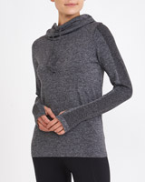 char-marl Long Sleeve Cowl Neck Seamfree Top