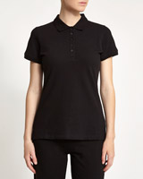 black Stretch Pique Polo Shirt