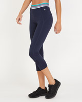 navy Elastic Detail Capri Leggings