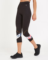 black Print Insert Capri Leggings