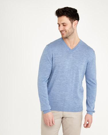 light-blue Paul Costelloe Living Merino Regular Fit V-Neck Jumper 3281bc872