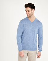 light-blue Paul Costelloe Living Merino Regular Fit V-Neck Jumper