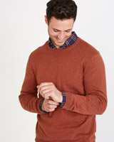 tan Paul Costelloe Living Slim Fit Cotton Silk Cashmere Crew-Neck Jumper