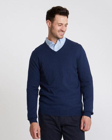 3692ef73 navy-marl Paul Costelloe Living Cotton Silk Cashmere V-Neck Jumper