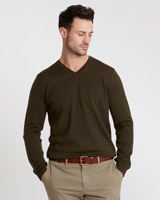 green Paul Costelloe Living Merino V-Neck Regular Fit Jumper