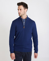 blue Paul Costelloe Living Merino Half Zip Regular Fit Jumper
