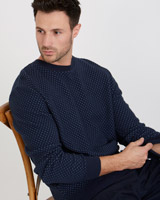 blue Paul Costelloe Living Two Tone Lattice Crew Knit Jumper