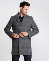 grey Paul Costelloe Living Check Overcoat