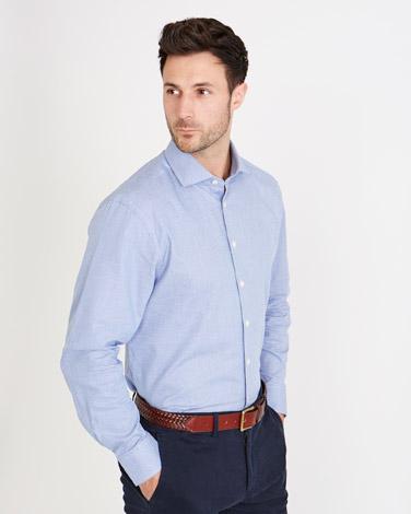 Paul Costelloe Living Regular Fit Blue Cut Away Collar Dobby Shirt