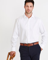 white Paul Costelloe Living Regular Fit White Dobby Smart Shirt