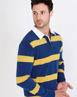 navy Paul Costelloe Living Regular Fit Stripe Rugby Shirt