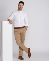 tan Paul Costelloe Living Straight Fit Fashion Chinos