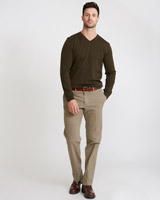 tan Paul Costelloe Living Garment Dyed Straight Fit Trouser