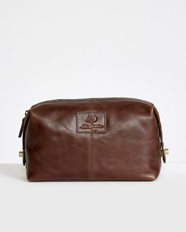 0b5d5aac6b0a brown Paul Costelloe Living Leather Wash Bag
