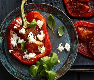 Roasted Red Peppers with Barrell Aged Greek Feta