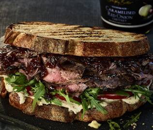Steak Sandwich with Caramelised Red Onion Chutney