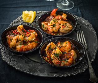 Wild Atlantic Prawns with Chorizo & Garlic