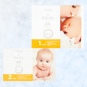 DUNNES STORES Baby-Dry Newborn NappiesS1/S2