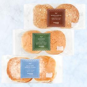 DUNNES STORES Wholemeal Soft Baps / Seeded Burger Buns / FlouryWhite Baps