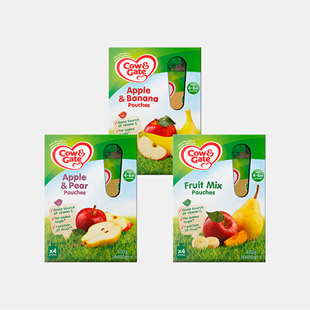 Cow & Gate Fruit Pouches 4 x 100g Range