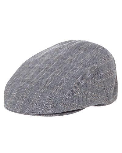 Linen Blend Check Flat Cap