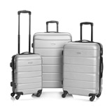 silver Hard Shell Four Spinner Wheel Luggage