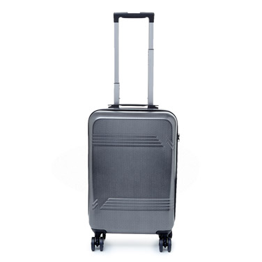 silver Textured Four Spinner Wheel Hard Cabin Case