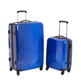 blue Hardshell Printed Four Spinner Wheel Luggage